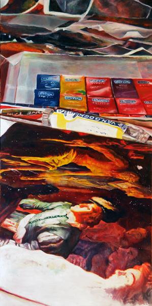 Pile oil on canvas 100x50 cm