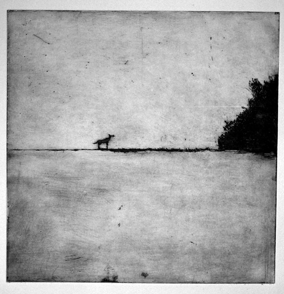 Polish landscape with a dog.35x35 cm'.etching - Copy-ff61d8a128